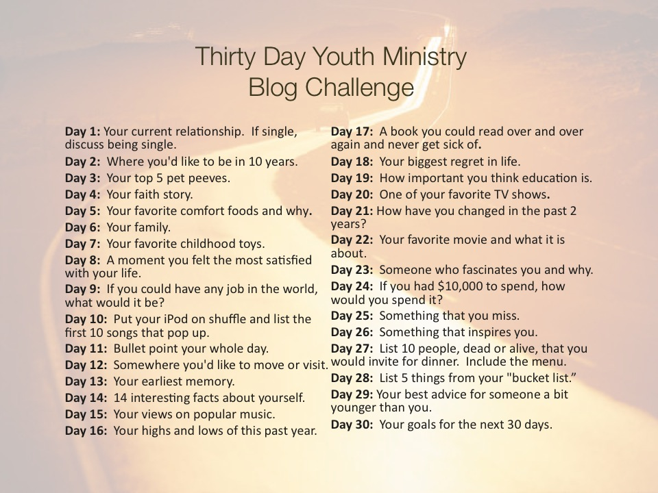 30-day Blog a 30 Day Give or Take Youth