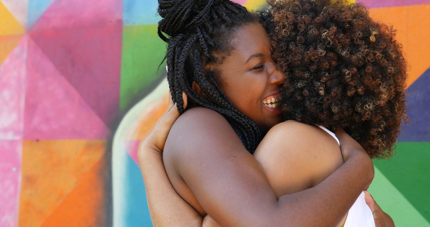 hugging people